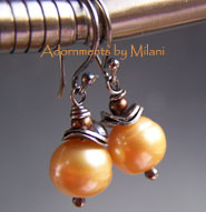 Golden Apricot Earrings- Pearl Beaded Boutique Jewelry