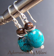 Tropical Turquoise Earrings - Beaded Blue Brown Sterling Silver