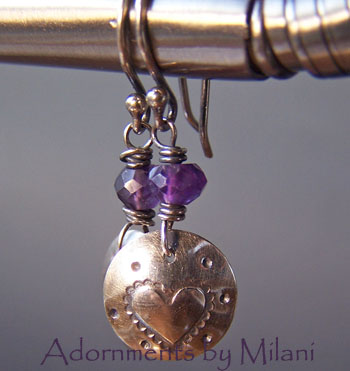 Sassy- Heart Purple Earrings Amethyst Beaded Small Sterling Silver Valentine