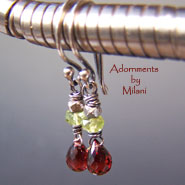 Tango- Red Garnet Earrings Peridot Beaded Petite Small