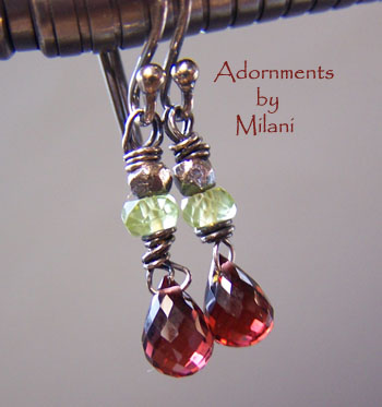 Tango- Red Garnet Earrings Peridot Beaded Petite Small Earrings