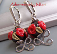 Roses are Red Earrings - Vintage Red Black Flower Floral Glass Artisan Sterling Silver Boutique Jewelry