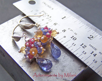 Tantalizing Tanzanite - Ruby Citrine Earrings Beaded Boutique Jewelry