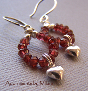 Amore Earrings - Red Garnet Valentine Heart Sterling Silver