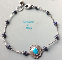 Atlantic Blue Turquoise Sterling Silver Bracelet Rustic Stone Artisan