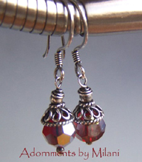 Dazzling Red Earrings Beaded Sparkly Short Small Rustic