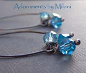 Denim Frost -  Marine and Aqua Blue Earrings Sterling Silver Beaded Sparkly