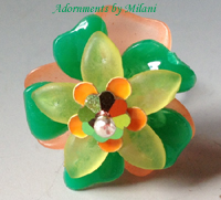 Green and Peach Tangerine Orange Ring Bridesmaid Flower Beaded Sterling Silver