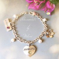 Abuelita Birthstone Bracelet Grandchildren Names Sterling Silver con Nombres de los Nietos Esterlina