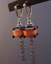 Love's Lantern - Red Black Earrings Japanese Inspired Boutique Jewelry