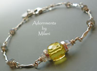 Yellow and Gray Bracelet Gemstones Sterling Silver Beaded