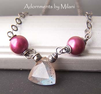 Pink Pearls Gray Labradorite Necklace - Les Pommettes