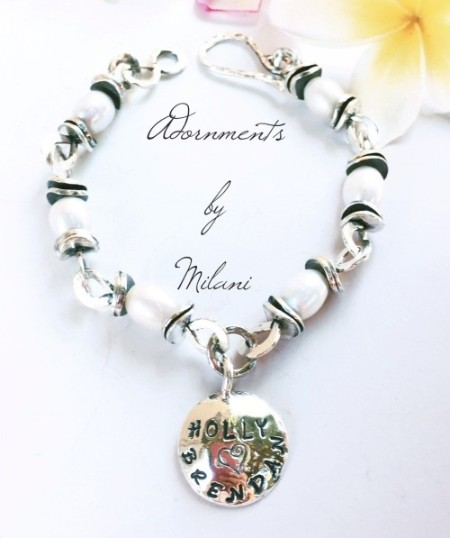 Mommy's Children Bracelet Child's Name Personalized Artisan Thick Sterling Silver