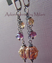 Mondovino - Wine Purple Earrings Lampwork Jewelry