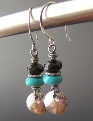 Crossing- Turquoise Earrings Blue Black Onyx Sterling Silver Artisan Beaded
