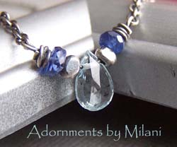 Ocean's Mist - Blue Necklace Small Kyanite Aquamarine Gemstones