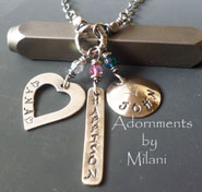 Eclectic Mommy Necklace - 3 Children Names Personalized Jewelry
