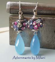 Boysenberry- Blue Pink Earrings Gemstone Ruby Aquamarine