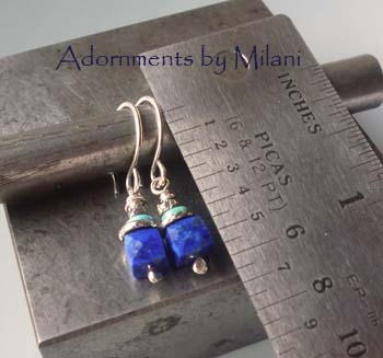 Royal Blue Lapis Lazuli Earrings Stones Turquoise Beaded Small