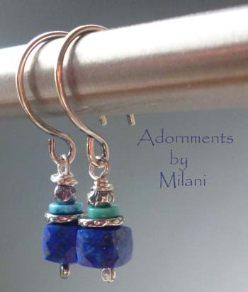 Royal Blue Earrings Lapis Lazuli Stones Beaded Small