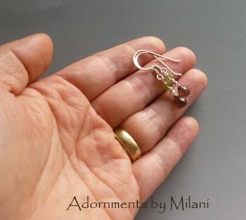 Deciduous - Green Brown Earrings Stone Beaded Earrings