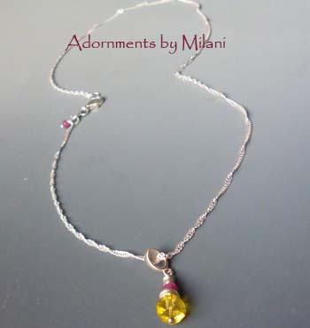 Burst of Sun- Yellow Quartz Ruby Pink Necklace Gemstones
