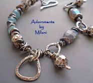 Innocuous- Gray and Blue Labradorite Aquamarine Bracelet Gemstone Beaded Asymmetrical