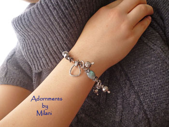 Innocuous- Labradorite Bracelet Blue Aquamarine Asymmetrical GemStones