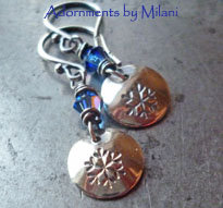 Winter Wonderland- Snowflake Earrings Blue Small Beaded Holiday