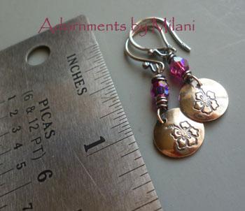 Hibiscus Earrings Hawaiian Small Sterling Silver