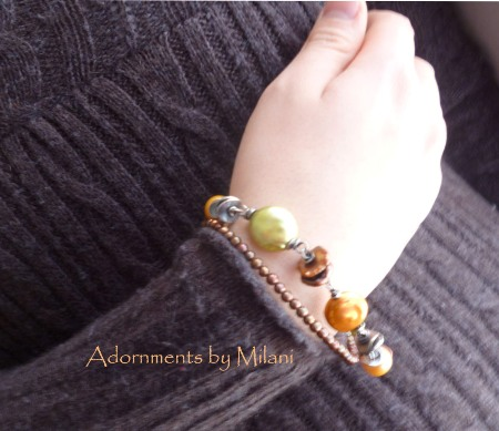 Roasted Chestnuts - Brown Green Pearl Bracelet Beaded Double Strand