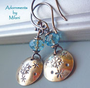 Snowflake Earrings Beaded Light Blue Sterling Silver Winter