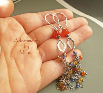 Sunset- Long Gemstone Beaded Earrings Orange Yellow Blue Carnelian Kyanite Citrine