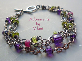 Jardin de Monet- Purple Amethyst Bracelet Fuchsia Ruby Green Peridot February Birthstone