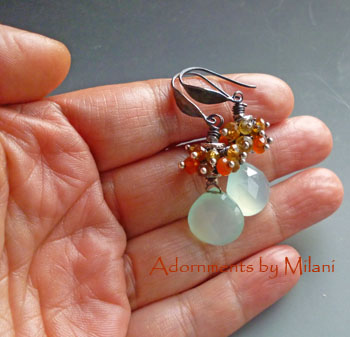 Fiji - Citrine Yellow Orange Seafoam Green Earrings Gemstone Beaded