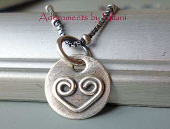Heart Necklace Artisan Handmade Small Sterling Silver