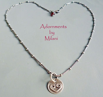 Heart Necklace Artisan Handmade Small Sterling Silver Matching Earring Set