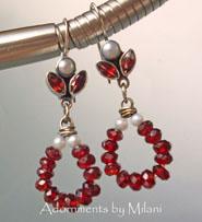 Rumba Red Earrings Garnet Beaded Gemstone January Birthstone Jewelry