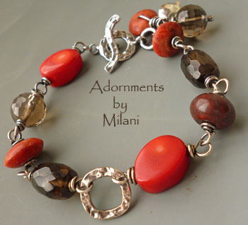 Warmth Red Brown Bracelet Gemstone Chunky