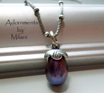 Eggplant Purple Pearl Necklace Sterling Silver Chain