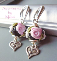 Cottage Rose- Flower Earrings Black Pink Glass Heart Artisan Beaded Boutique Jewelry