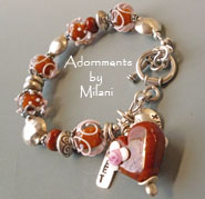 Sienna- Heart Bracelet Adobe Red Brown Artisan Glass Boutique Jewelry