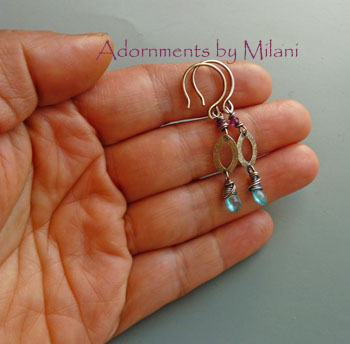 Kokomo Dreams- Aqua Green Blue Earrings Almandine Garnet Gems Stones Boutique Beaded