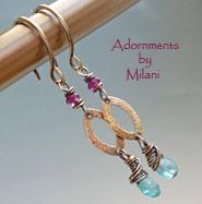 Kokomo Dreams- Aqua Green Blue Earrings Almandine Garnet Gems Stones Boutique Beaded