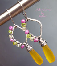 Vibrant Earrings- Yellow, Green Peridot, Fuchsia Ruby Gemstones