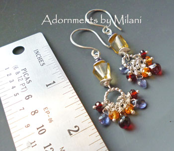 Cadence of Colors- Red, Blue, Orange, Yellow Earring Gem Stones Beaded