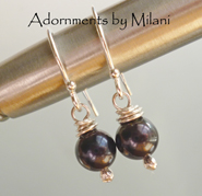 Noir - Black Pearl Earrings Simple Small