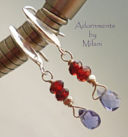 Bon Vivant- Red Blue Earrings Gemstones Garnet Iolite