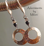 Moonlight - Hammered Sterling Silver Earrings Hoop Black Gray Earrings