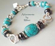 Blue & Black Brigade Turquoise Bracelet Stone Chunky Beaded